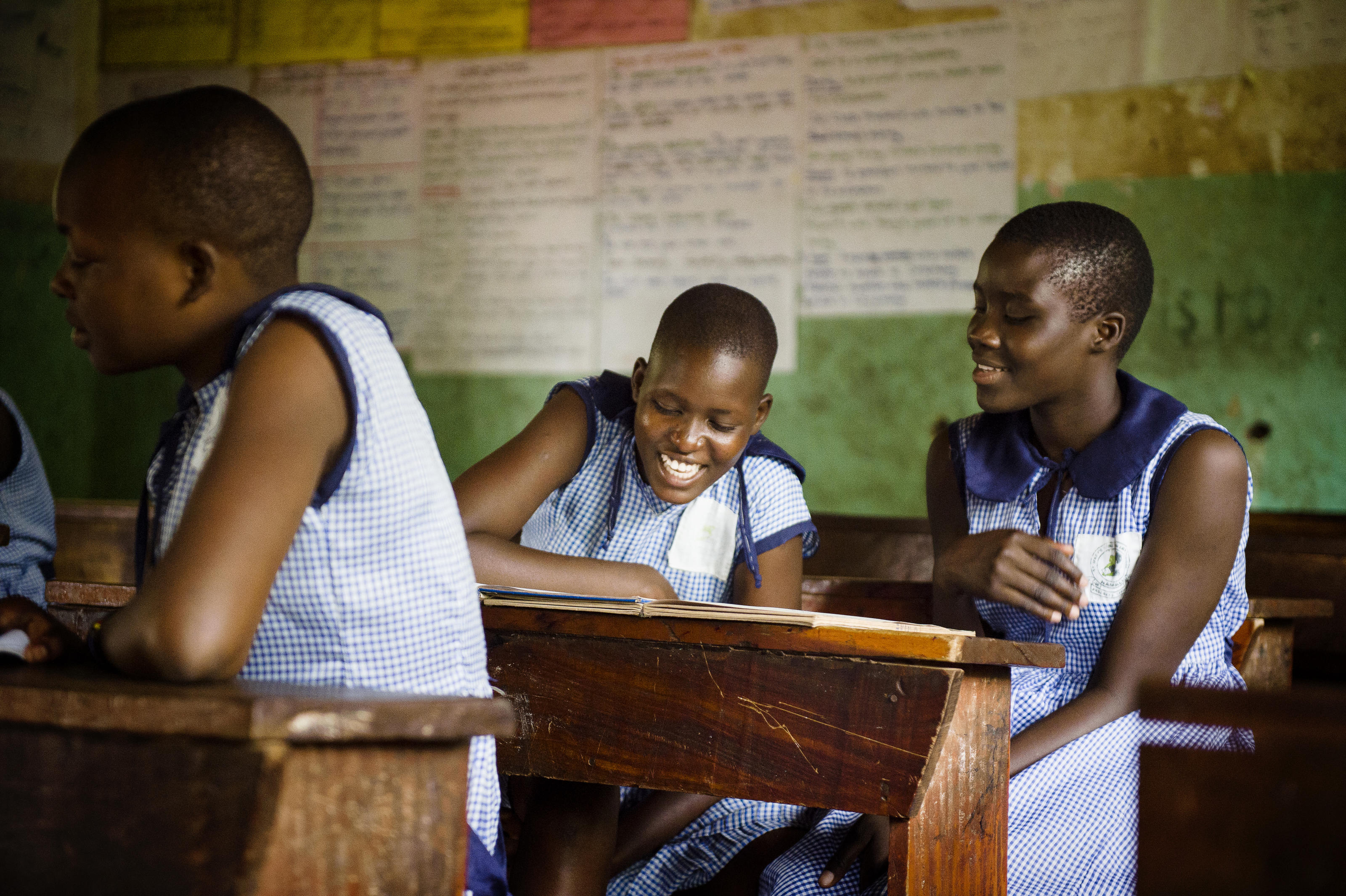 Fiona and Beatrice during lessons at St Mary's School, Uganda.