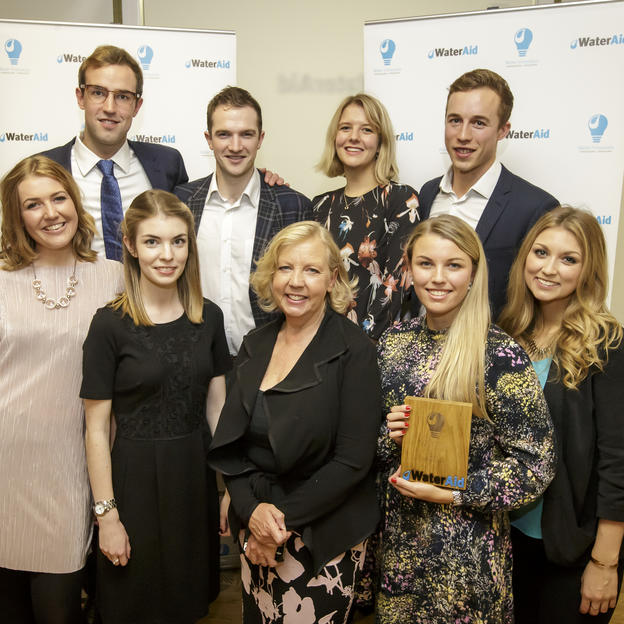 Deborah Meaden with the winning team Aspara from Anglian Water at WaterAid's Water Innovators Awards 2016.